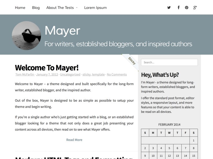 Screenshot of the Mayer theme
