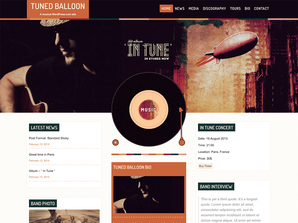 Tuned Balloon WordPress Theme