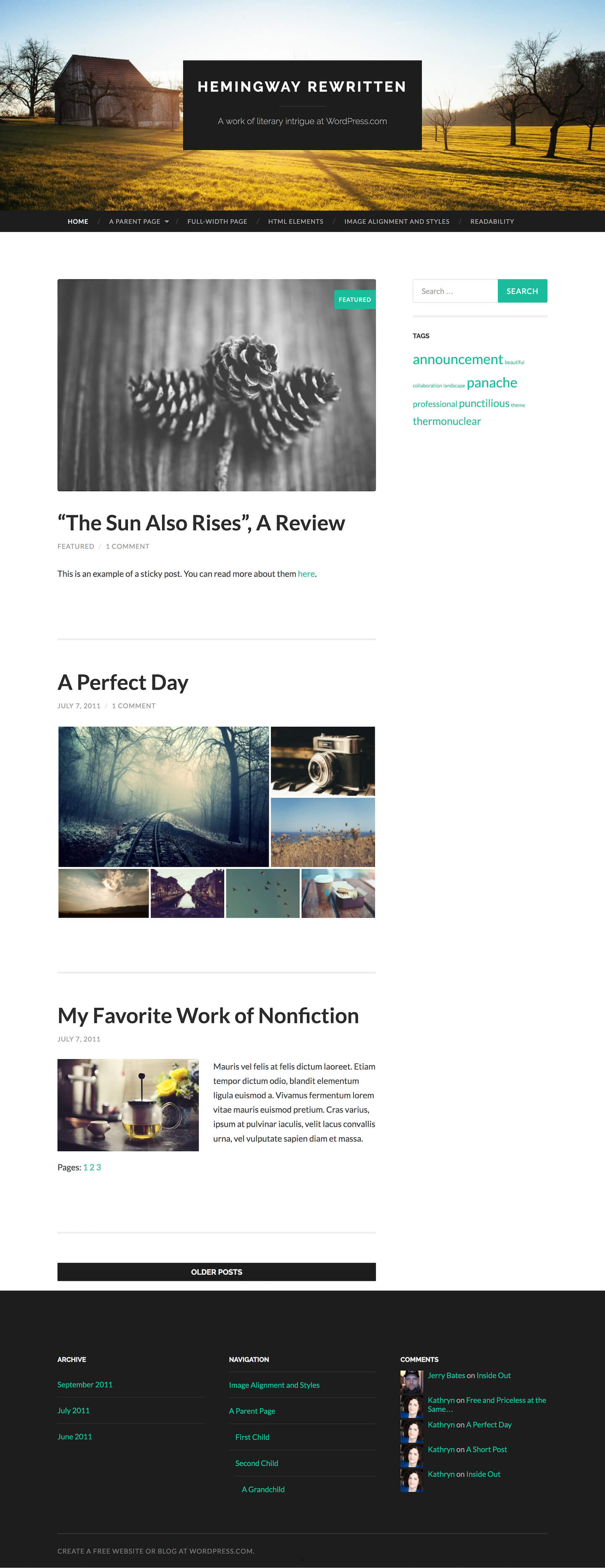 Hemingway Rewritten WordPress Theme