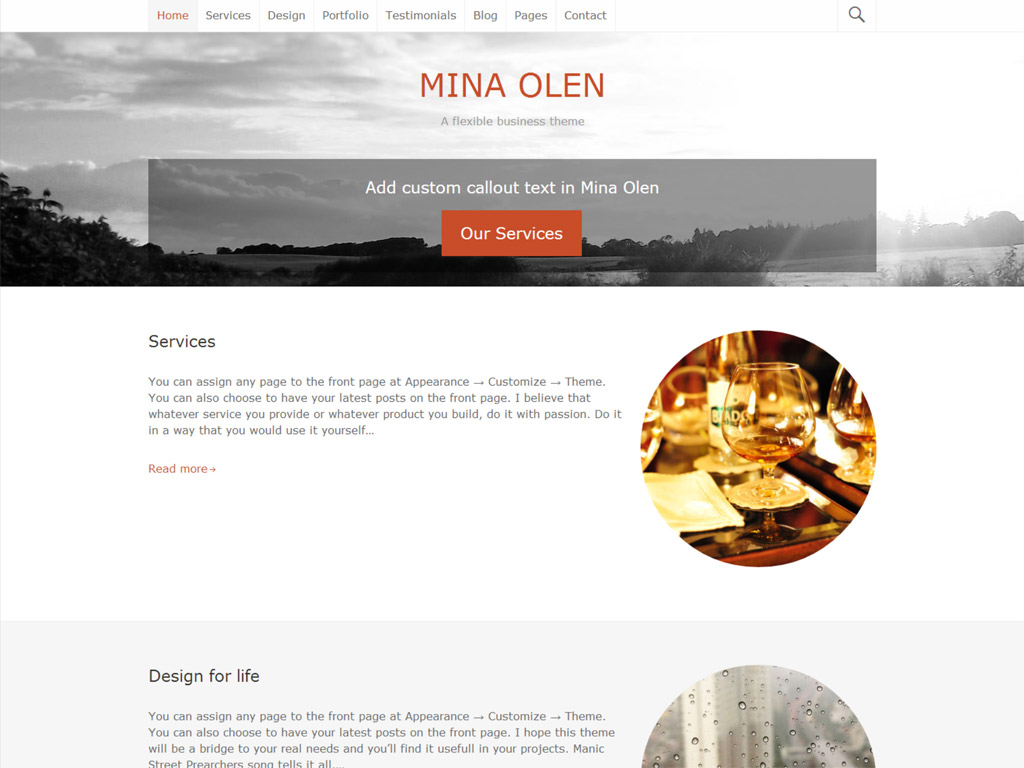 Screenshot of the Mina Olen theme