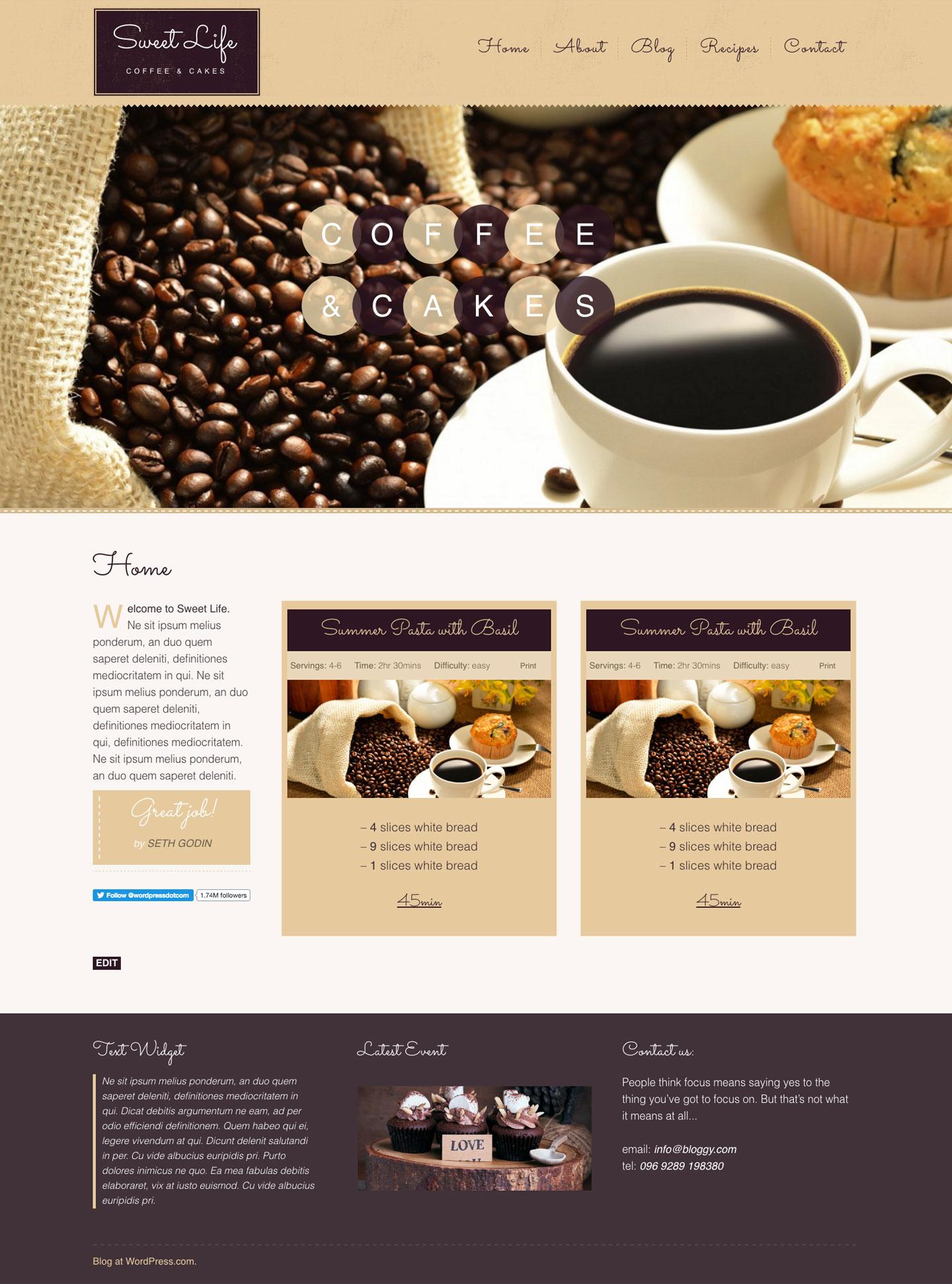 Screenshot of the Sweet Life theme