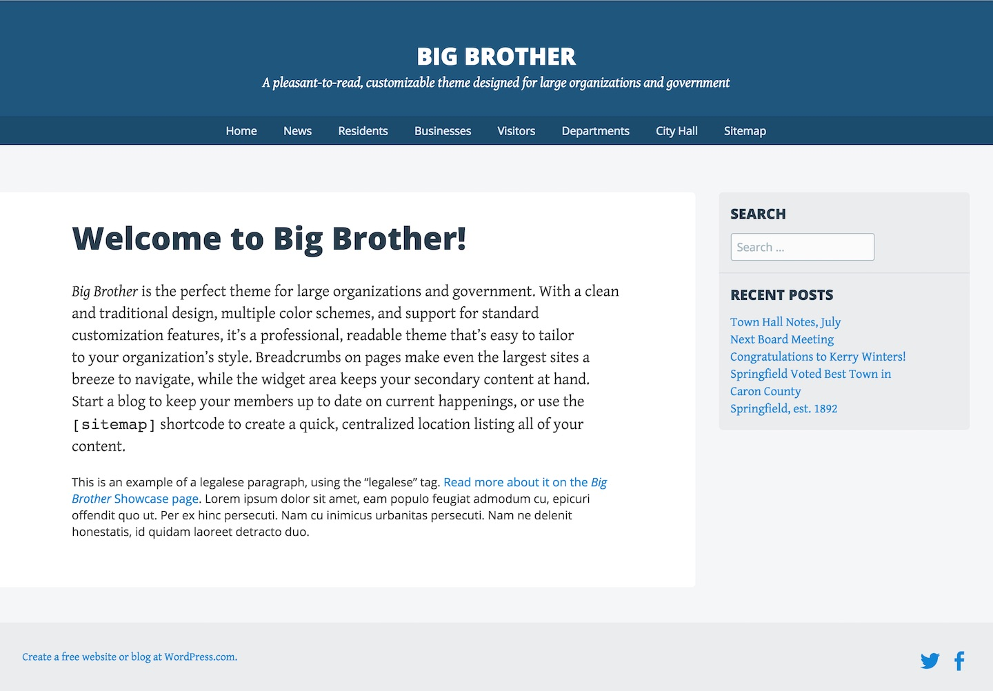Screenshot of the Big Brother theme