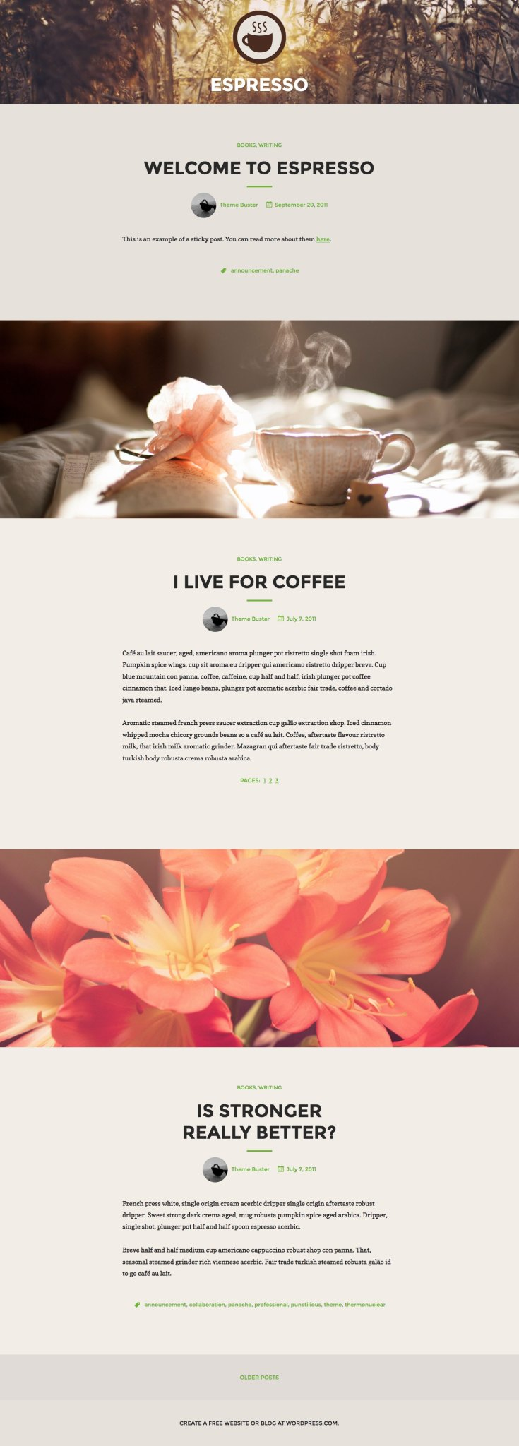 Screenshot of the Espresso theme