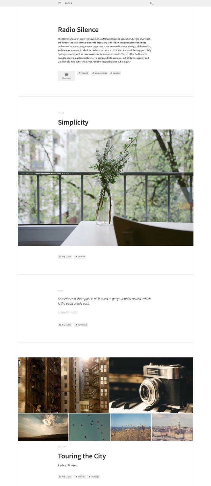 Screenshot of the Isola theme