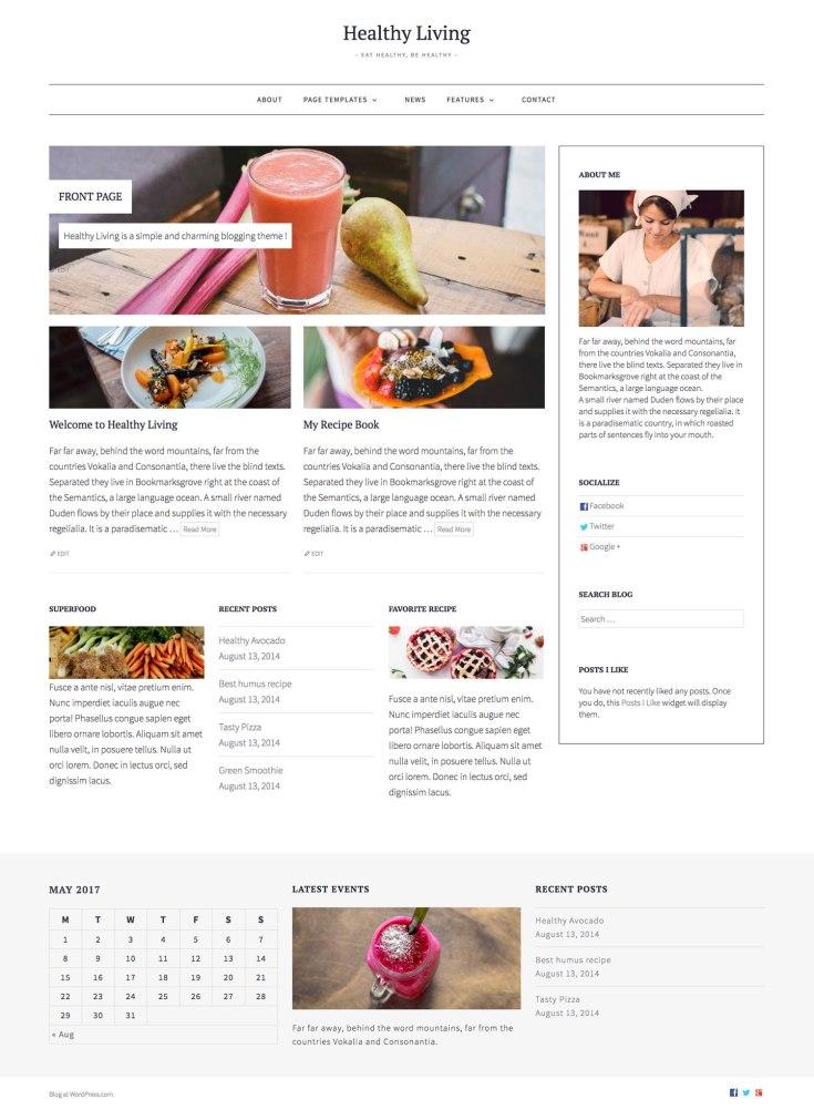 Screenshot of the Healthy Living theme