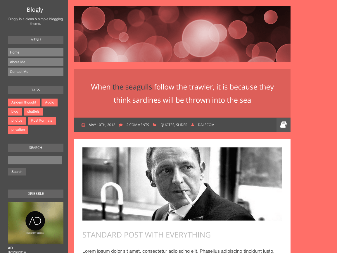 Screenshot of the Blogly theme