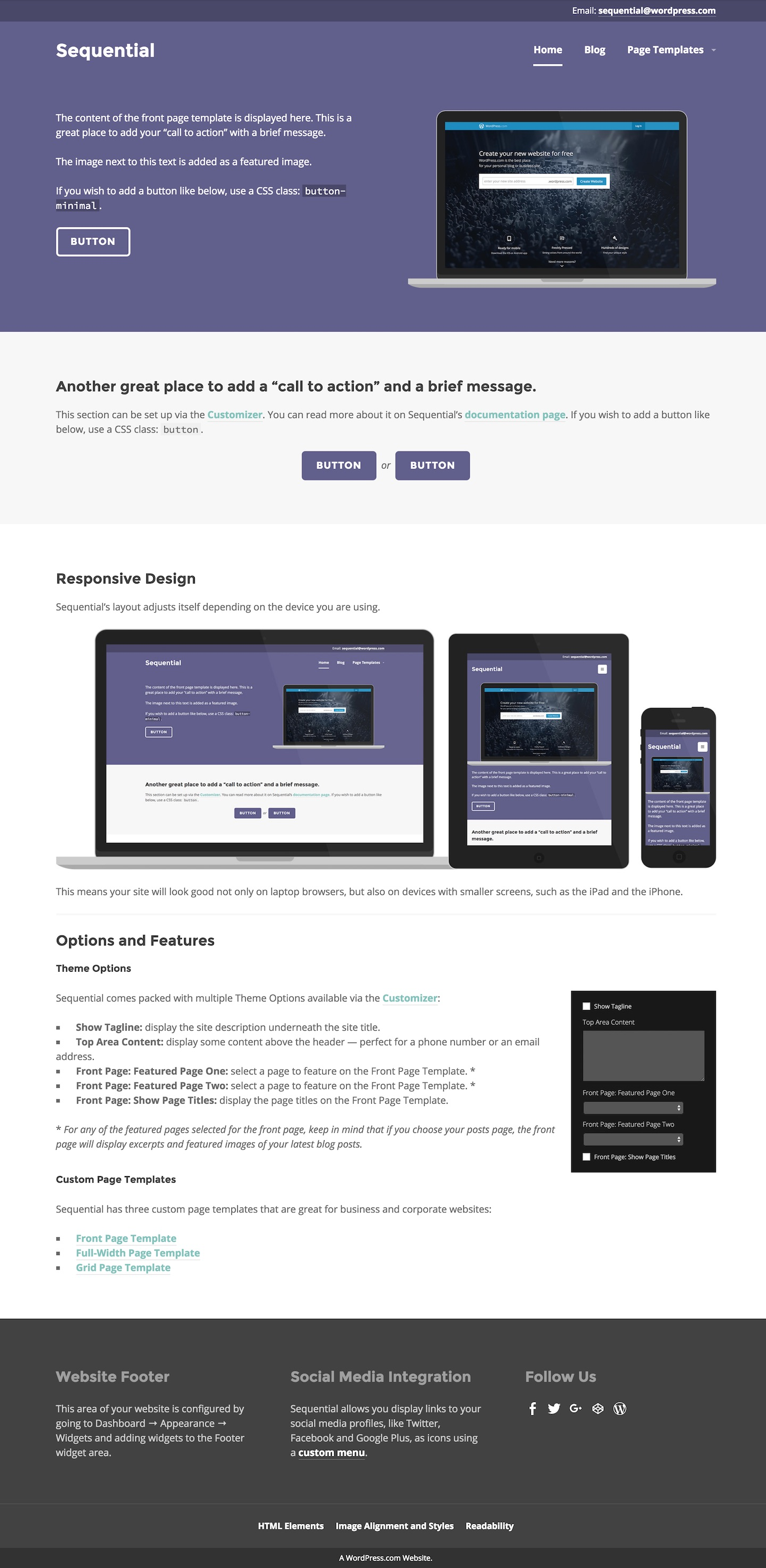 Sequential Theme WordPress – Manual Cover Page Template