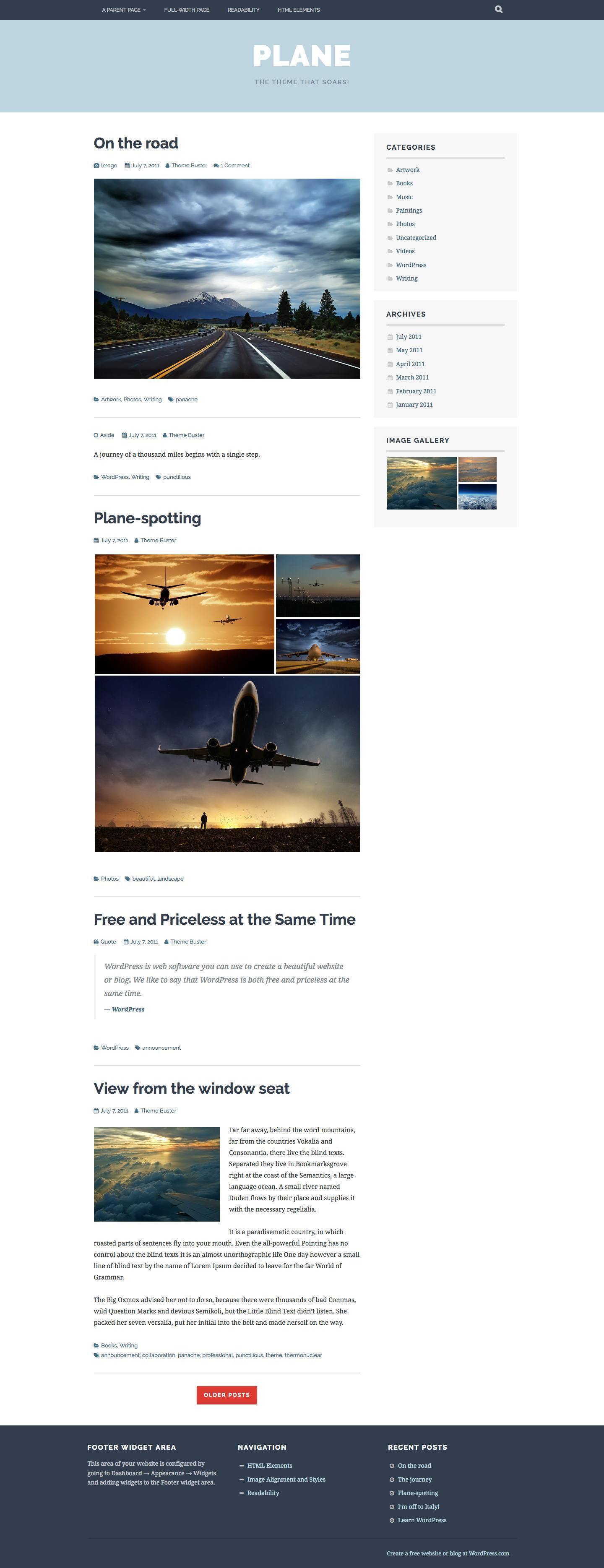 Screenshot of the Plane theme