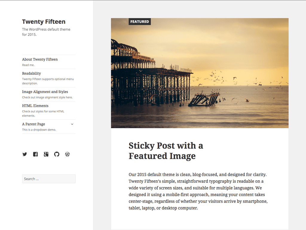 Twenty Fifteen WordPress Theme