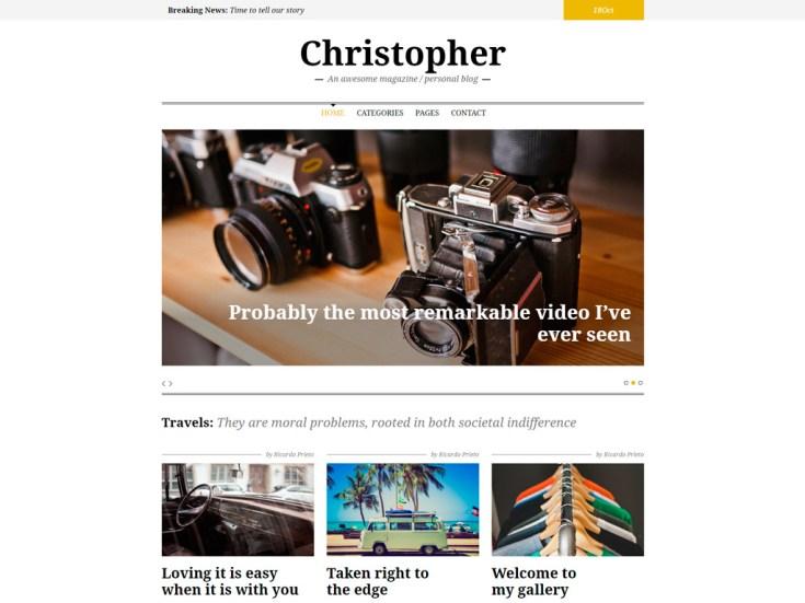 Screenshot of the Christopher theme