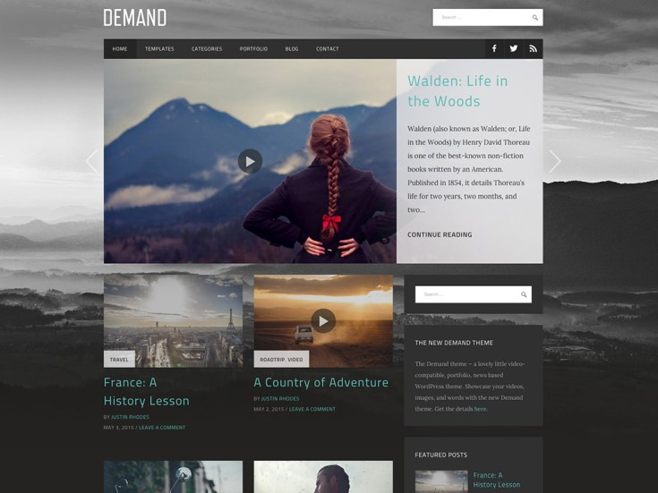 Screenshot of the Demand theme