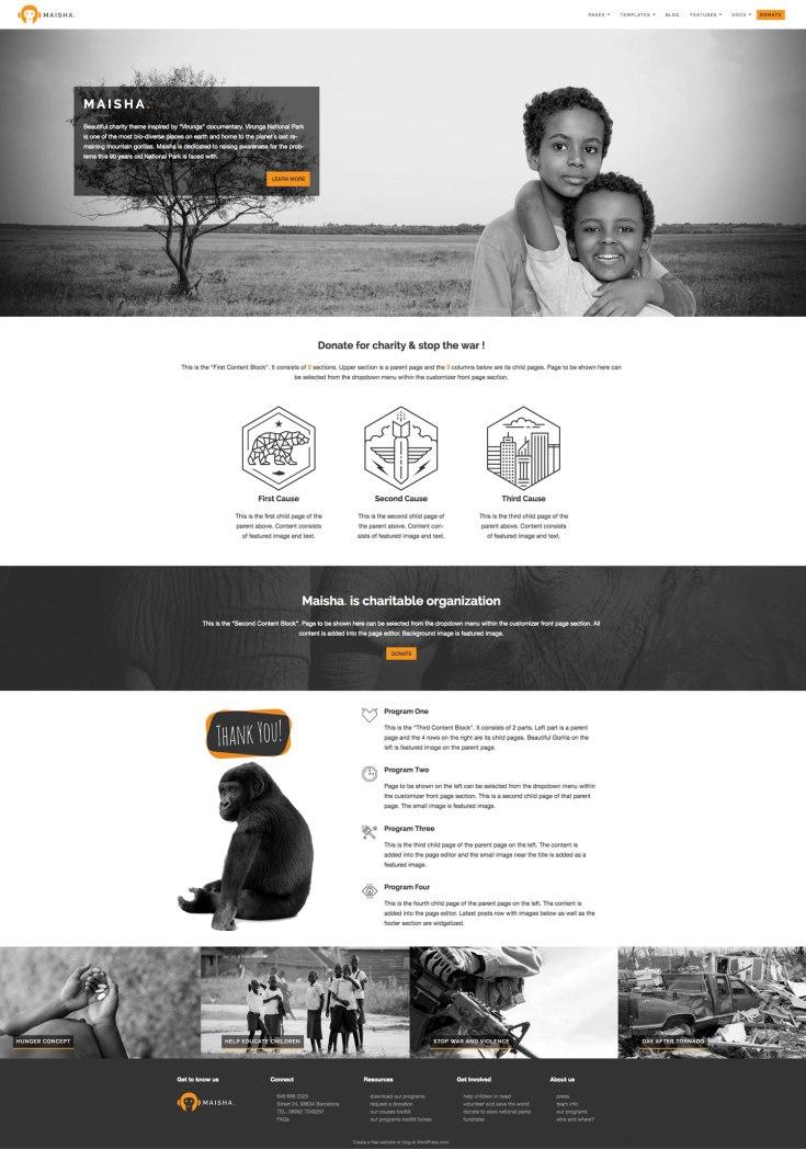 Screenshot of the Maisha theme