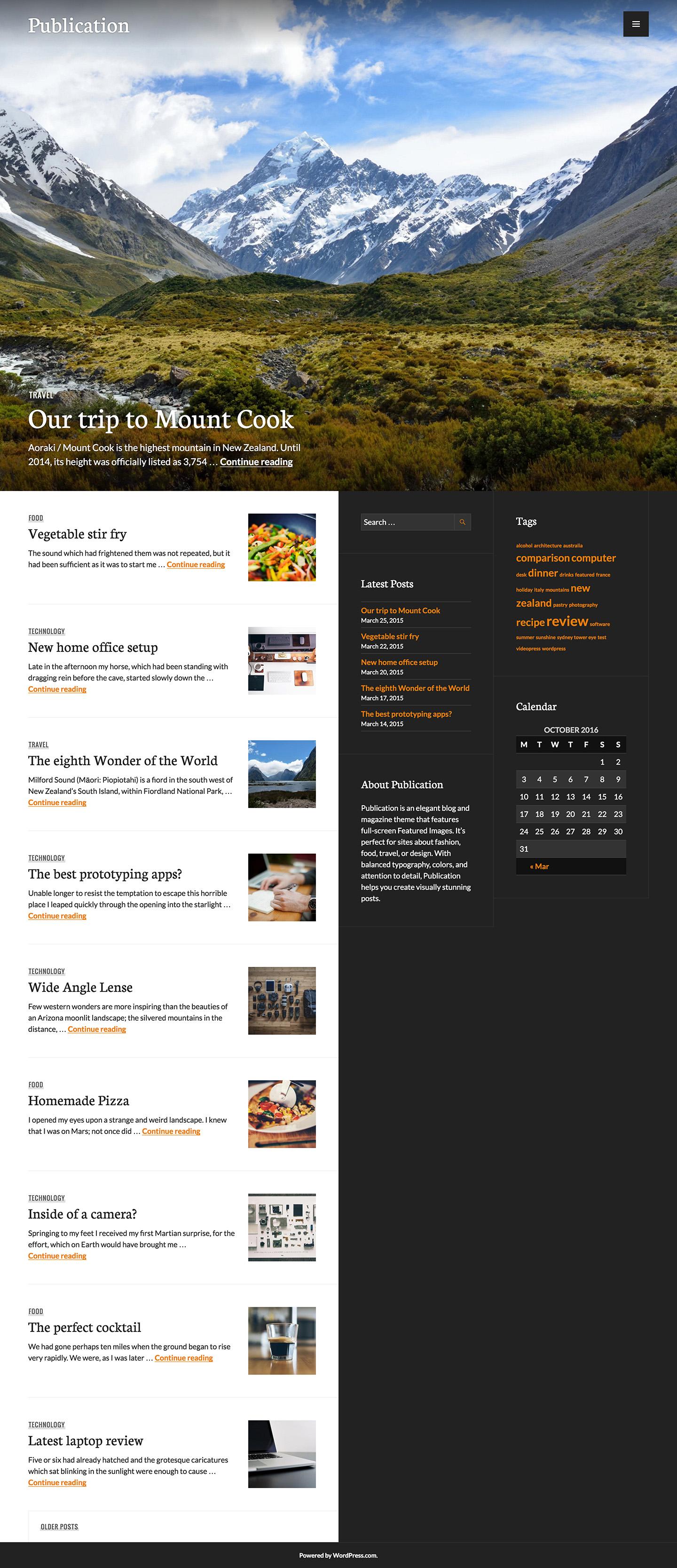 Screenshot of the Publication theme