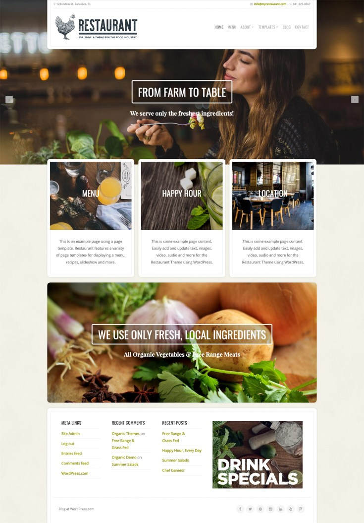 Screenshot of the Restaurant theme