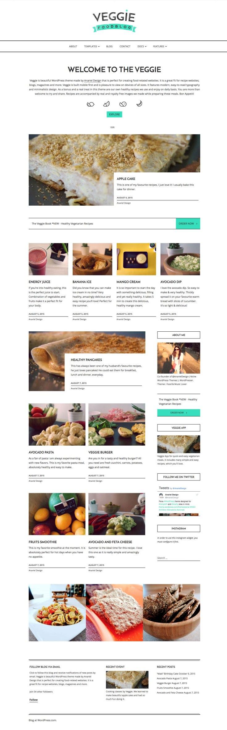 Screenshot of the Veggie theme