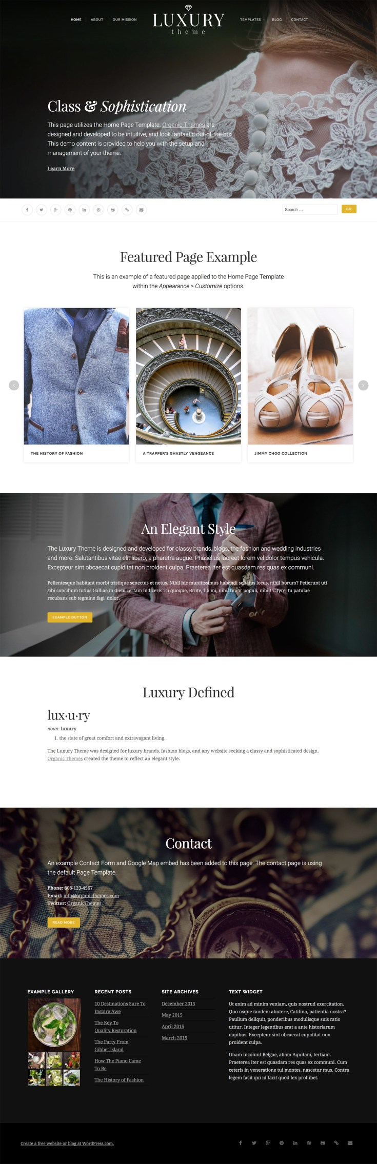 Screenshot of the Luxury theme
