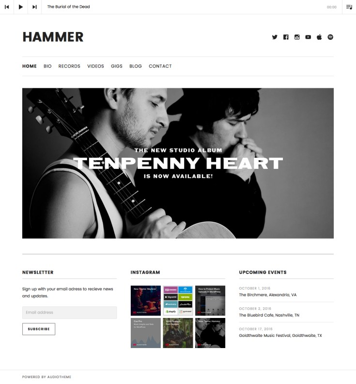 Screenshot of the Hammer theme
