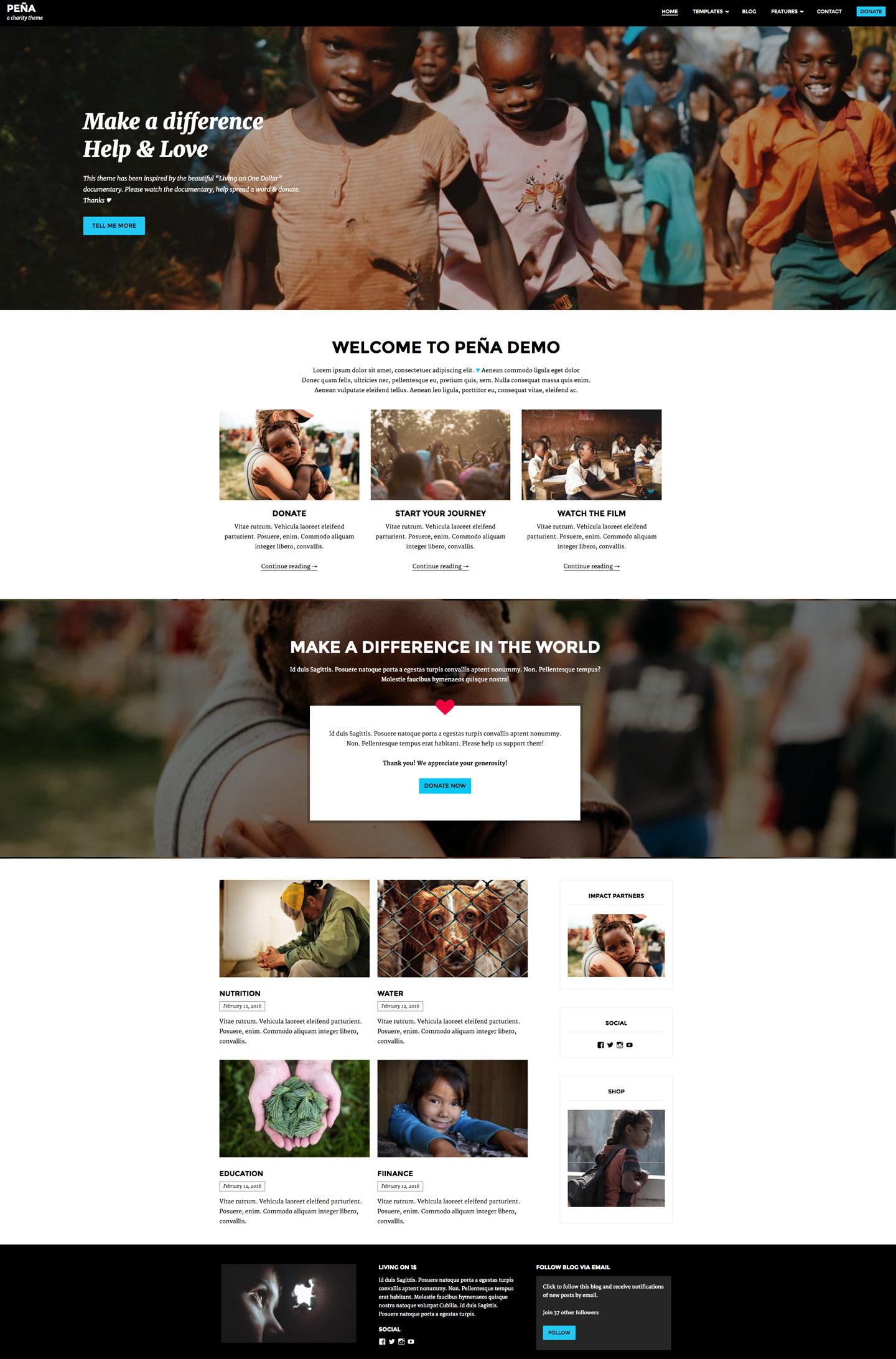 Screenshot of the Pena theme