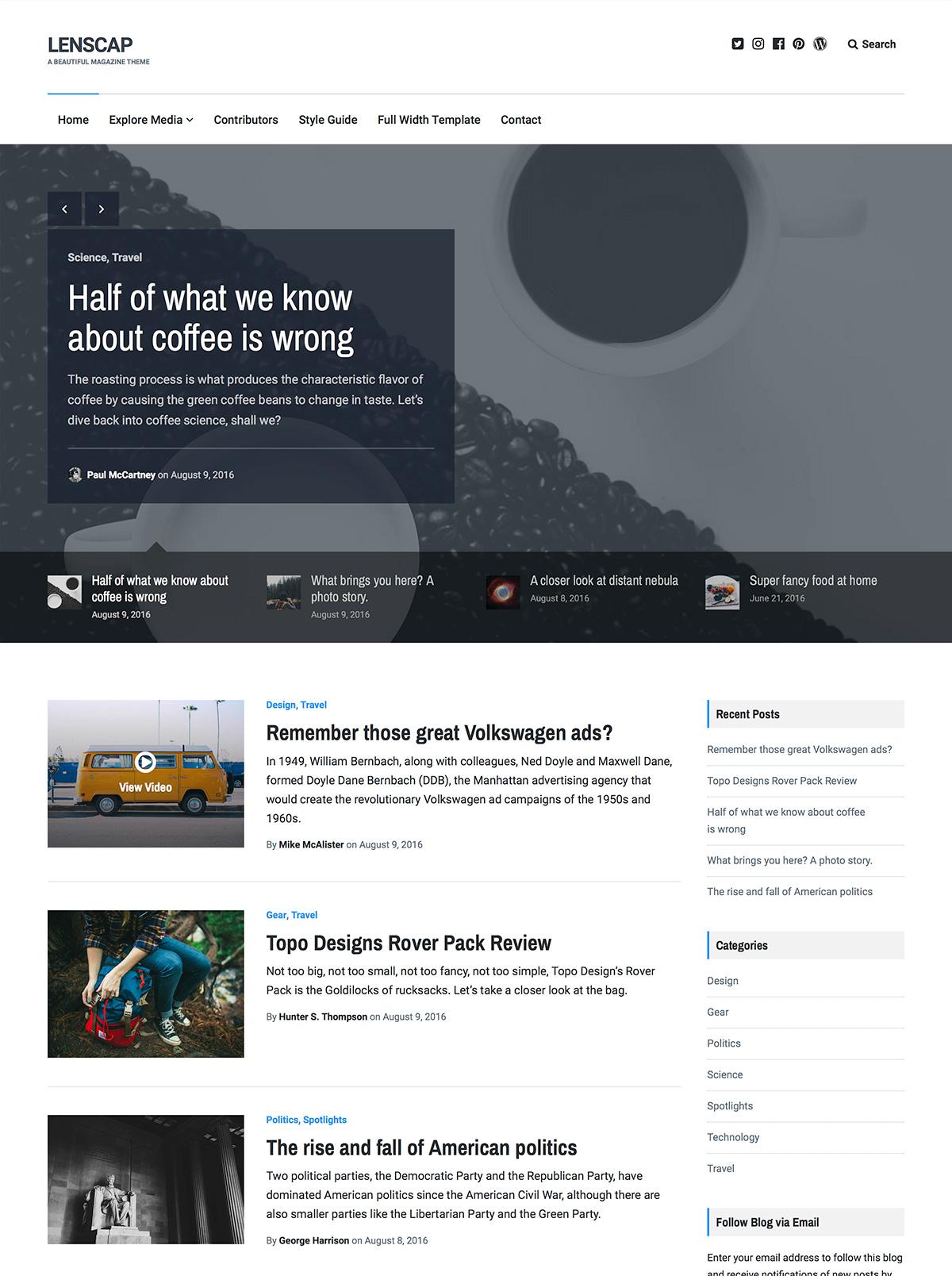 Screenshot of the Lenscap theme