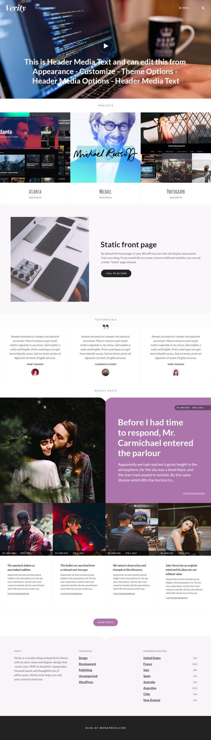 Screenshot of the Verity theme