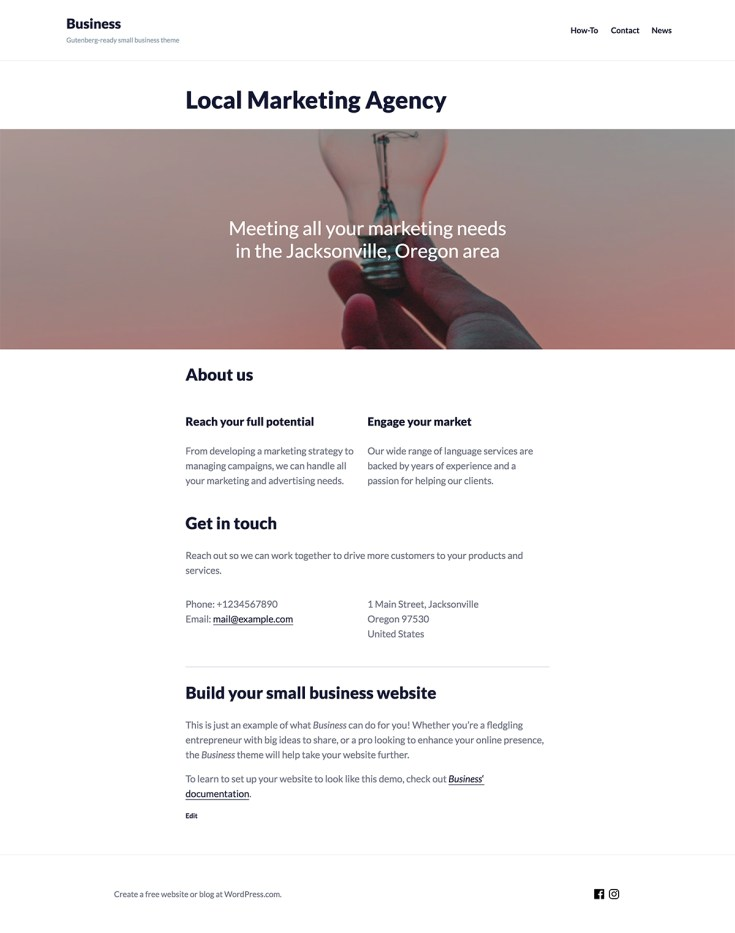 Screenshot of the Business theme