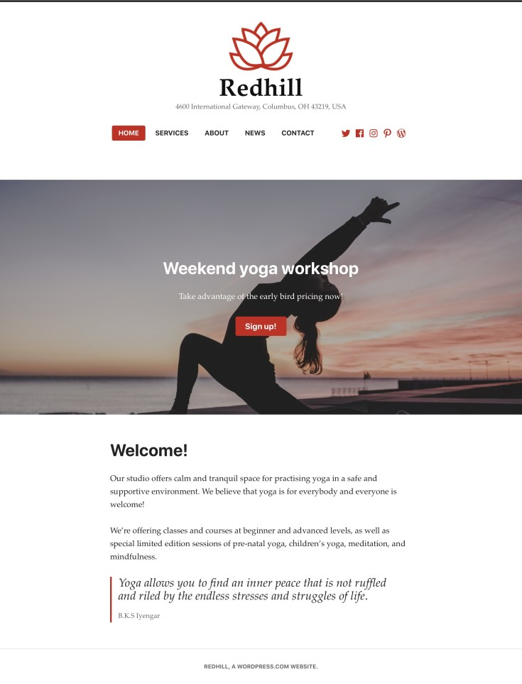 Screenshot of the Redhill theme