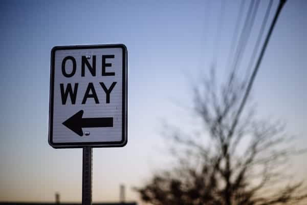 what's next - one way sign