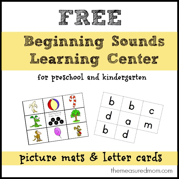 Another Free Beginning Sounds Learning Center  Set 3!  The Measured Mom