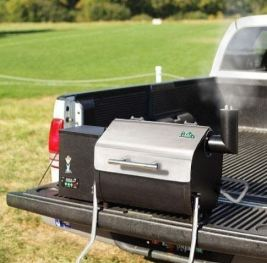 Green Mountain Grills Davy Crockett at the back of the truck