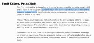 Staff Editor, Print Hub, A2 and A3