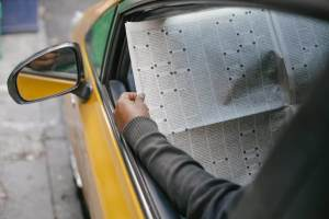 person reading newspaper sitting in car