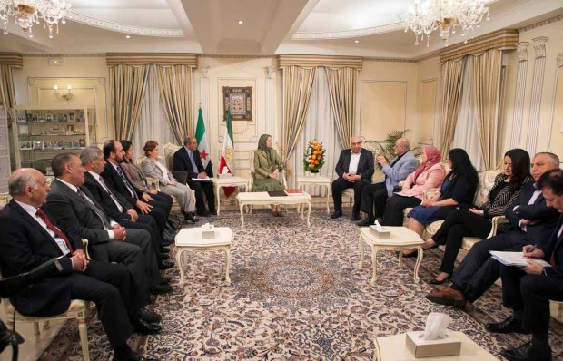 Auver Sur Oise, France 11/06/2016 - The Iranian Resistance's President-elect Maryam Rajavi meet with a number of prominent personalities from Syrian opposition officials at Auver Sur Oise, France. Maryam Rajavi said: Solution to Middle East crisis involves eviction of mullahs from Syria and region and their overthrow in Iran.