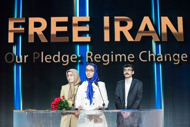 Image: Paria Kohandell recounts to tens of thousands of Iranian diaspora the story of her father ongoing struggle as a political prisoner under the Iranian regime, joined by other young exiled Iranians at the Free Iran grand gathering of Iranian communities 9 July 2016 at Le Bourget, Paris, France. Copyright Siavosh Hosseini | The Media Express 2016.
