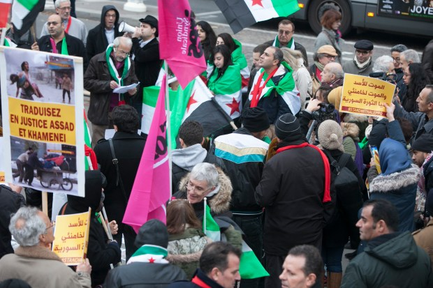 Paris, France, Syria, Demonstration outside of the Iranian embassy in Paris