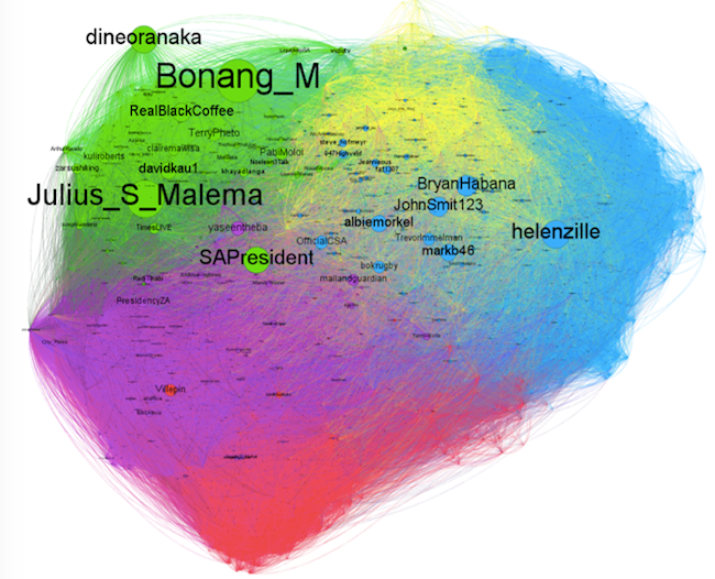 South African 2012 Twitter follower network. Node size is based on number of followers. The differently coloured regions represent distinct communities as identified using the Louvain modularity algorithm.