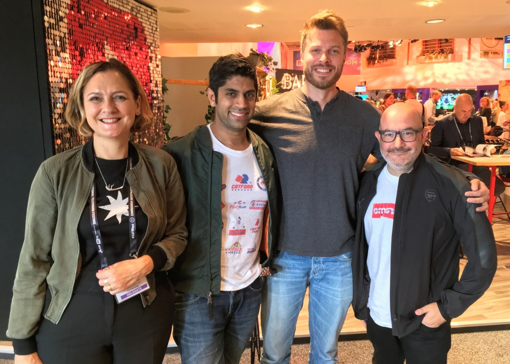 Rick Edwards presents The Media Podcast at the Edinburgh International TV Festival 2017 with guests (l-r) Kate Harwood, Faraz Osman and Boyd Hilton