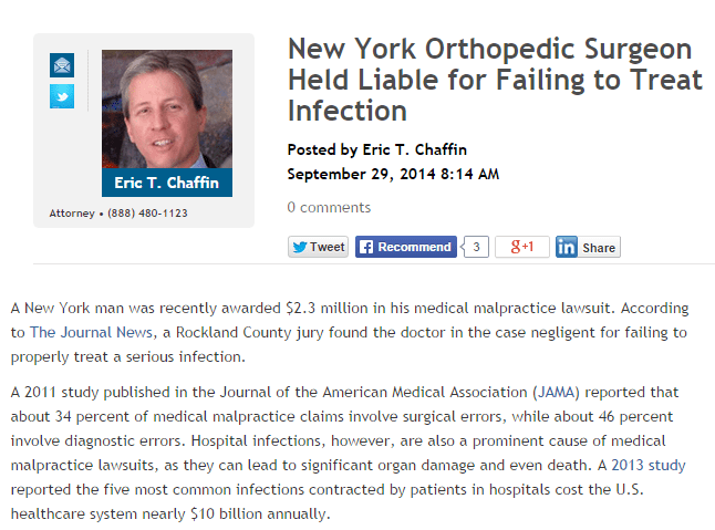 New York orthopedic Surgeon Held Liable for Failing to Treat Infection
