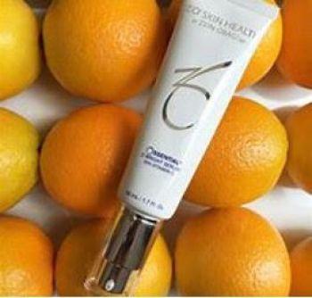 ZO10 Vitamin C cream placed ontop of oranges