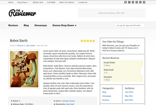 Rating Website Template. website template 38511 watch online video ...