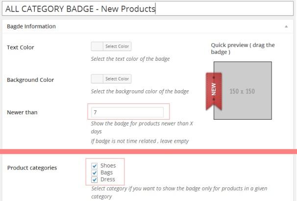 woocommerce-products-badge-management
