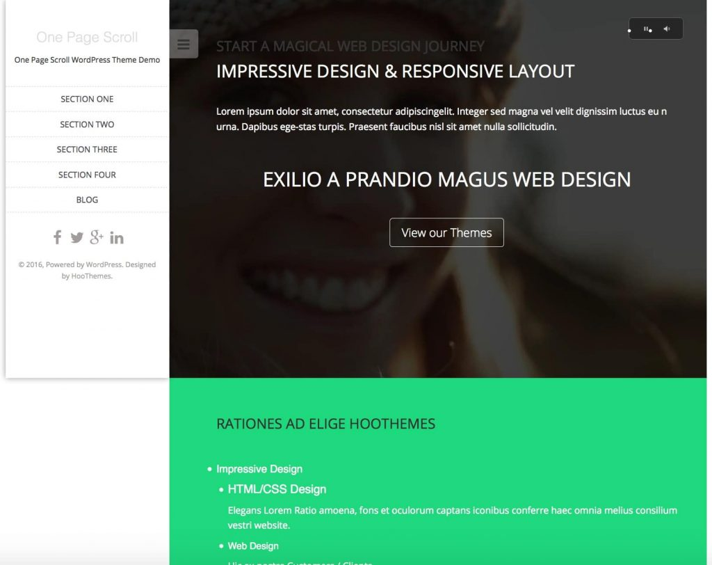 one page scroll - free one page wordpress themes collection