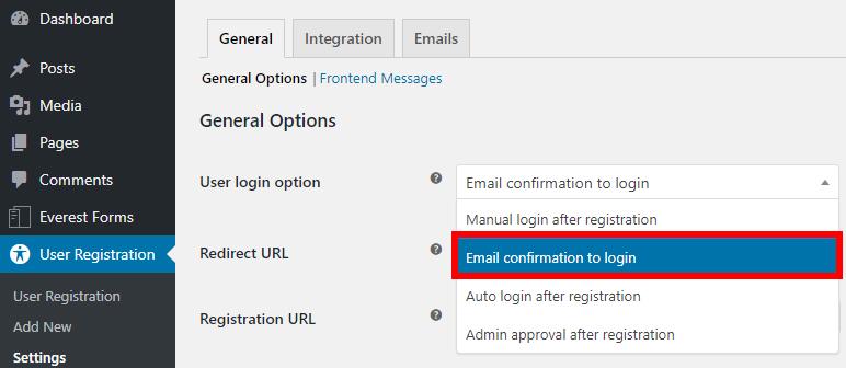 confirmação de e-mail spam de registro do wordpress