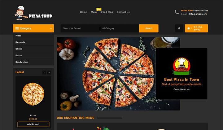 pizza wordpress theme temlates