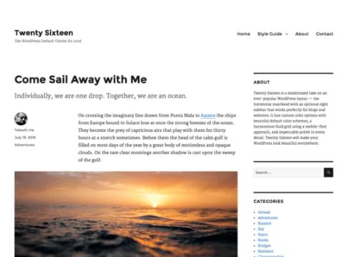 Twenty Sixteen WordPress Theme