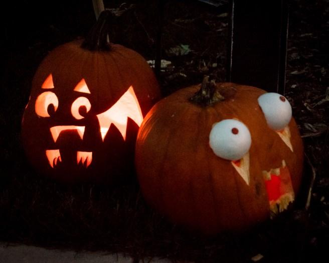 Batty pumpkin and googlie-eyed pumpkin