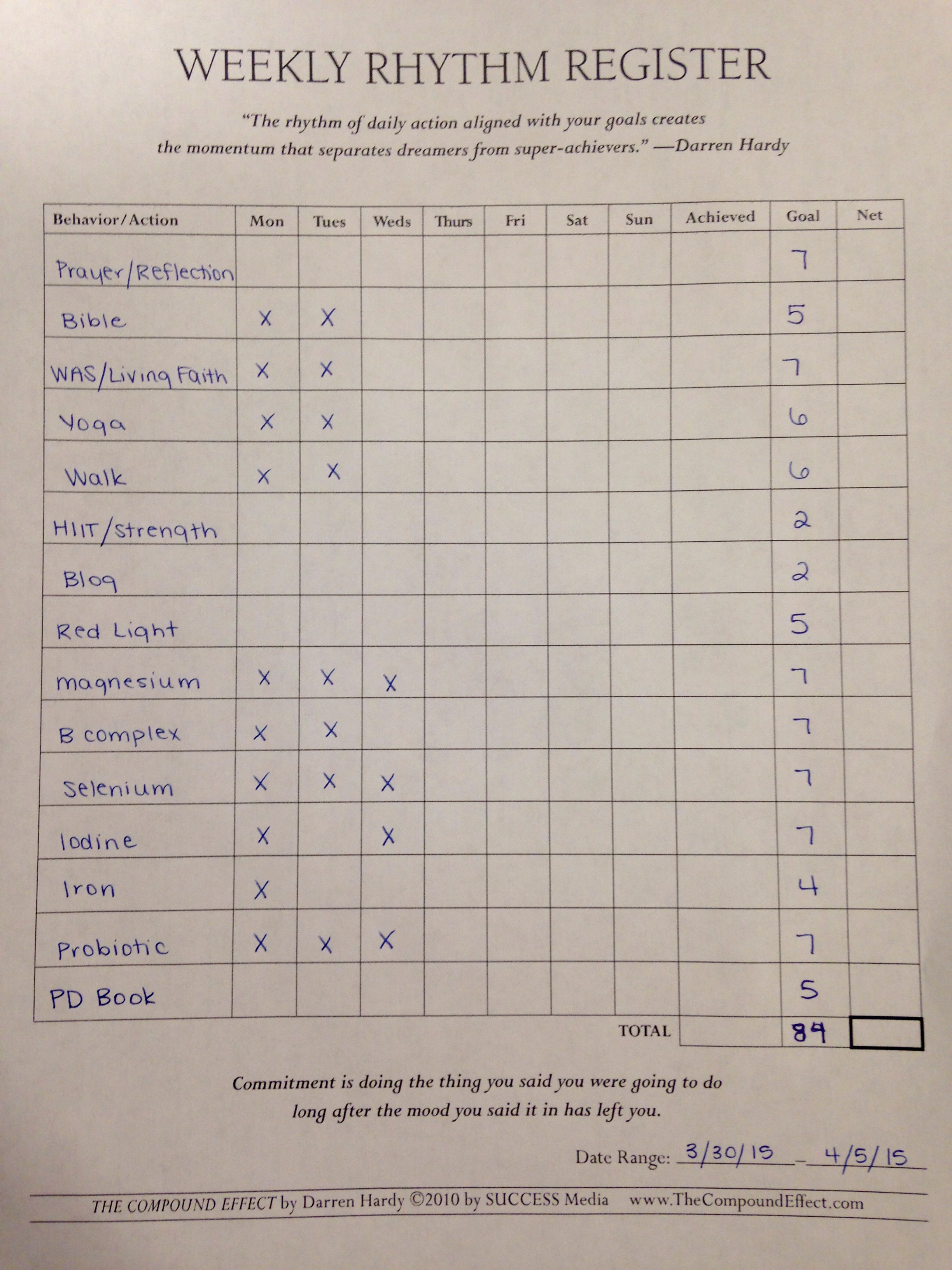 Weekly Rhythm Register Useful Accountability Tool For