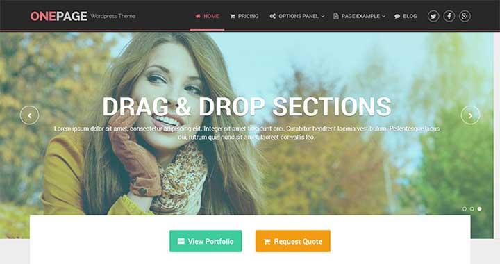 Onepage Portfolio Theme WordPress