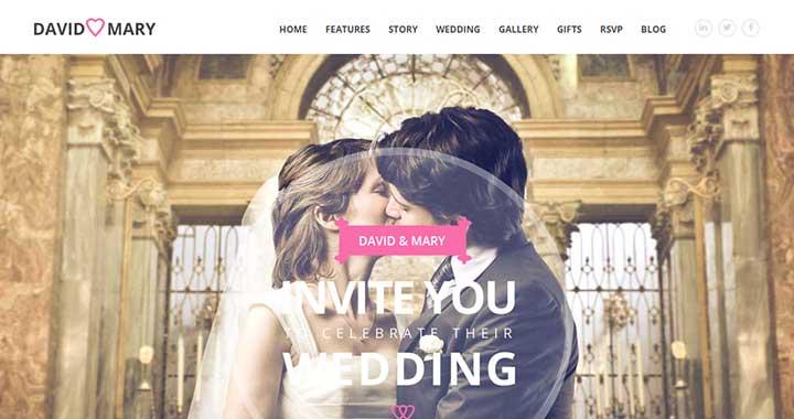 David & Mary WordPress Wedding Templates