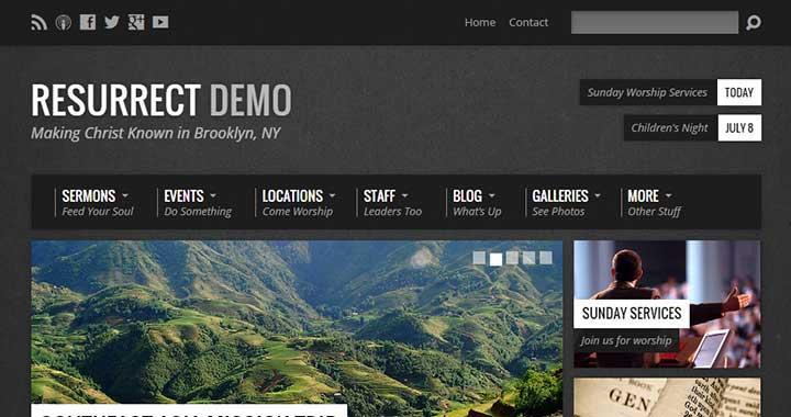 Resurrect WordPress Themes For Churches
