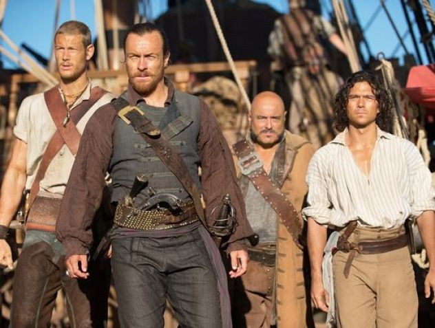 Flint's Crew. Left to right: Billy Bones, Flint, Gates and John Silver